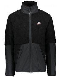 Nike Stand Up Collar Zipped Sherpa Jacket - Black