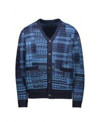 Beams Plus Patchwork Knit Cardigan - Blue