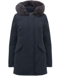 Woolrich - Luxury Arctic Fox Parka In Midnight Blue - Lyst