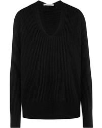 Vince - Raglan Ribbed V Neck Jumper In Black - Lyst