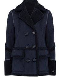 Urbancode - Izzi Shearling Patch Pocket Coat In Navy - Lyst