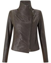 Trilogy - Leather Scuba Jacket In Brown - Lyst