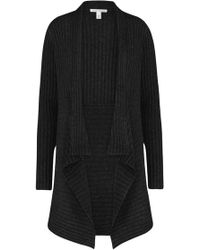 Autumn Cashmere - Ribbed Drape Cardigan In Anthracite - Lyst