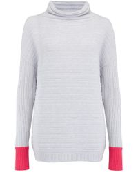 Duffy - Textured Stripe Cowl Neck Jumper In Light Grey And Geranium - Lyst