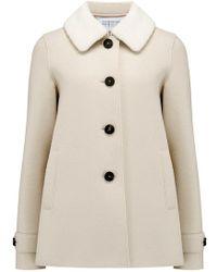 Harris Wharf London - Loden Coat With Fur Collar In Cream - Lyst