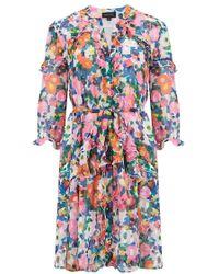 Saloni - Tilly Ruffle Dress In Pink Rosette - Lyst