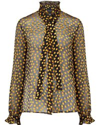 Saloni - Emile Blouse In Black And Yellow Polka Dot - Lyst