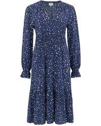 Trilogy - Elise Dress In Navy Dots - Lyst