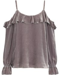 Joie - Alyse Velvet Cold Shoulder Top In Vintage Silver - Lyst
