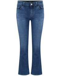 J Brand - Selena Cropped Bootcut Jean In Polaris Destruct - Lyst