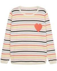 Chinti & Parker - Striped Heart Jumper In Cream Multi - Lyst