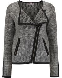 Cocoa Cashmere - Short Tweed Biker Cardigan In Black - Lyst