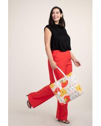 Trina Turk Patio Swing Floral Canvas Tote - Red