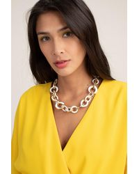 Kenneth Jay Lane Modern Link Enamel Necklace - White