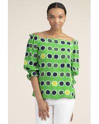 Trina Turk Equinox Print Off-the-shoulder Silk Top - Green