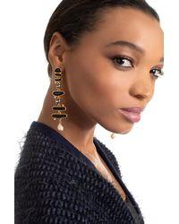 Kenneth Jay Lane Gold Drop Post Earring - Black