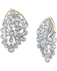 Trina Turk Another Round Stone Cluster Statement Stud Earring - Clear White / O/s