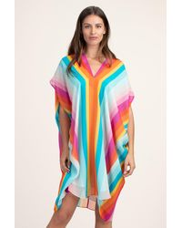 Trina Turk Getaway Stripe V-neck 34 Sleeve Silk Caftan Dress - Multicolour