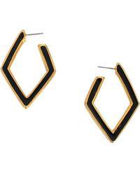 Kenneth Jay Lane Diamond Drop Post Earring - Black