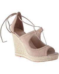 Trina Turk Lace Up Wedge - Nude Neutral / 10 - Blue