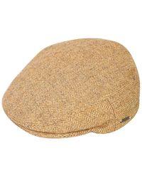 Triona Design Tan Herringbone Donegal Tweed Flat Cap - Natural