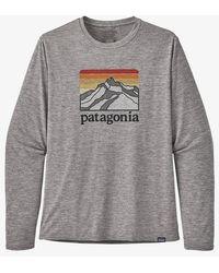 Patagonia L S Capilene Daily Ridge Logo Feather Grey T-shirt - Gris