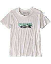 Patagonia - Camiseta Ws Pastel P 6 Logo Organic Crew White - Lyst