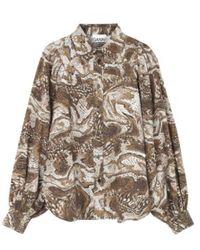 Ganni - Printed Cotton Poplin Shirt - Lyst