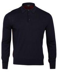 Brioni Split Polo en laine laine Marron minuit - Bleu