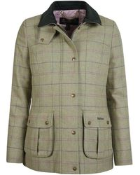 Barbour S Marlow Tweed Jacket Green Pink Check