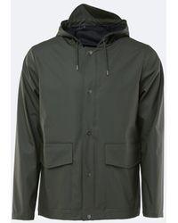 Rains Abrigo impermeable corto verde con capucha