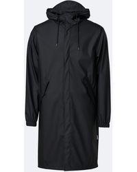 Rains Black Fishtail Parka Coat