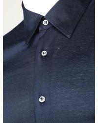 Brioni - Chemise à manches longues bleu marine - Lyst