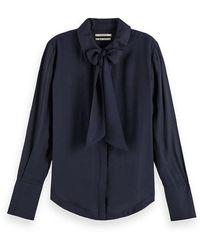 Maison Scotch Silky Bow Neck Blouse Mystic Night - Blue