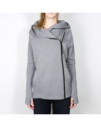 Nike Carbon Heather / Schwarz Wmns Tech Fleece Cape - Grau