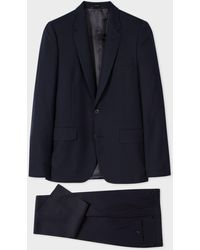 Paul Smith Men's Tailored-fit Navy Wool 'a Suit To Travel In' - Multicolour