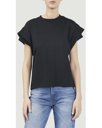Ba&sh Elix Cotton T Shirt With Pleated Sleeves - Black