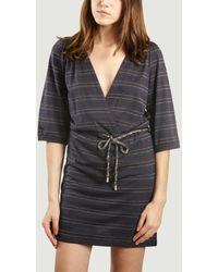 Sessun Marie Rosie Wrap Dress Night Stripes - Nero