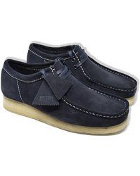 Clarks Wallabee Wildleder Schuhe Tinte - Blau