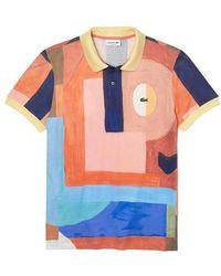 Lacoste Polo de corte regular en piqué de algodón con estampado de pintura - Multicolor