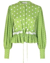 Stine Goya Camisa Mena Green Dots - Verde