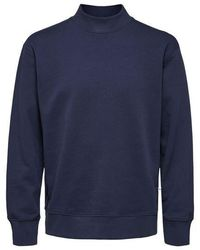 SELECTED Navy Dawson High Neck Sweatshirt - Blau