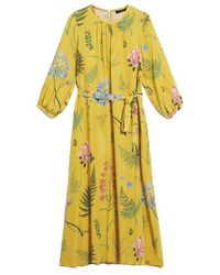 Weekend by Maxmara Yellow Medusa Silk Printed Dress