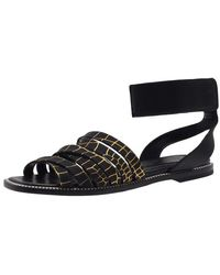 McQ Croc Print Ankle Strap Erin Flat Sandals - Black