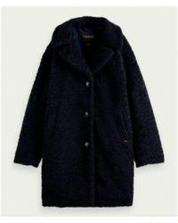 Scotch & Soda Manteau coupe moyenne et fermeture à bouton simple - Bleu
