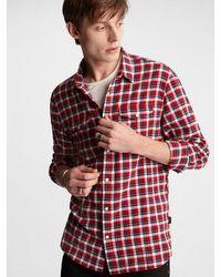 John Varvatos Red And White Marshall Plaid Western Shirt