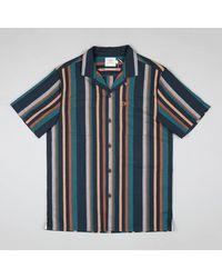 Farah Bloomfield Kurzarm Revere Striped Shirt In Flasche Grün - Blau