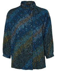 Vero Moda Https://www.trouva.com/it/products/vero-moda-printed-tie-neck-top - Blu