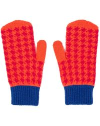Paul Smith Houndstooth Mittens Pink - Red