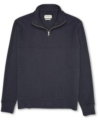 Oliver Spencer Sweat-shirt à moitié zippée minuit - Bleu